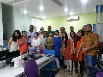 Joe with his team at his Mumbai office