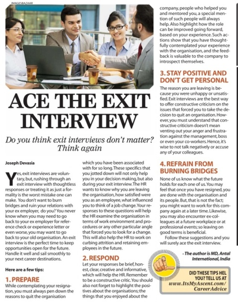 How to ace an Exit Interview, Times Ascent, September 16, 2015