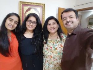 Naresh with his wife and beautiful daughters